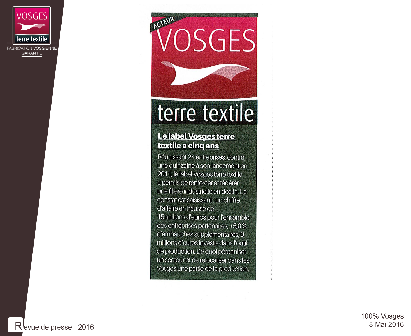 Article publié dans 100% Vosges