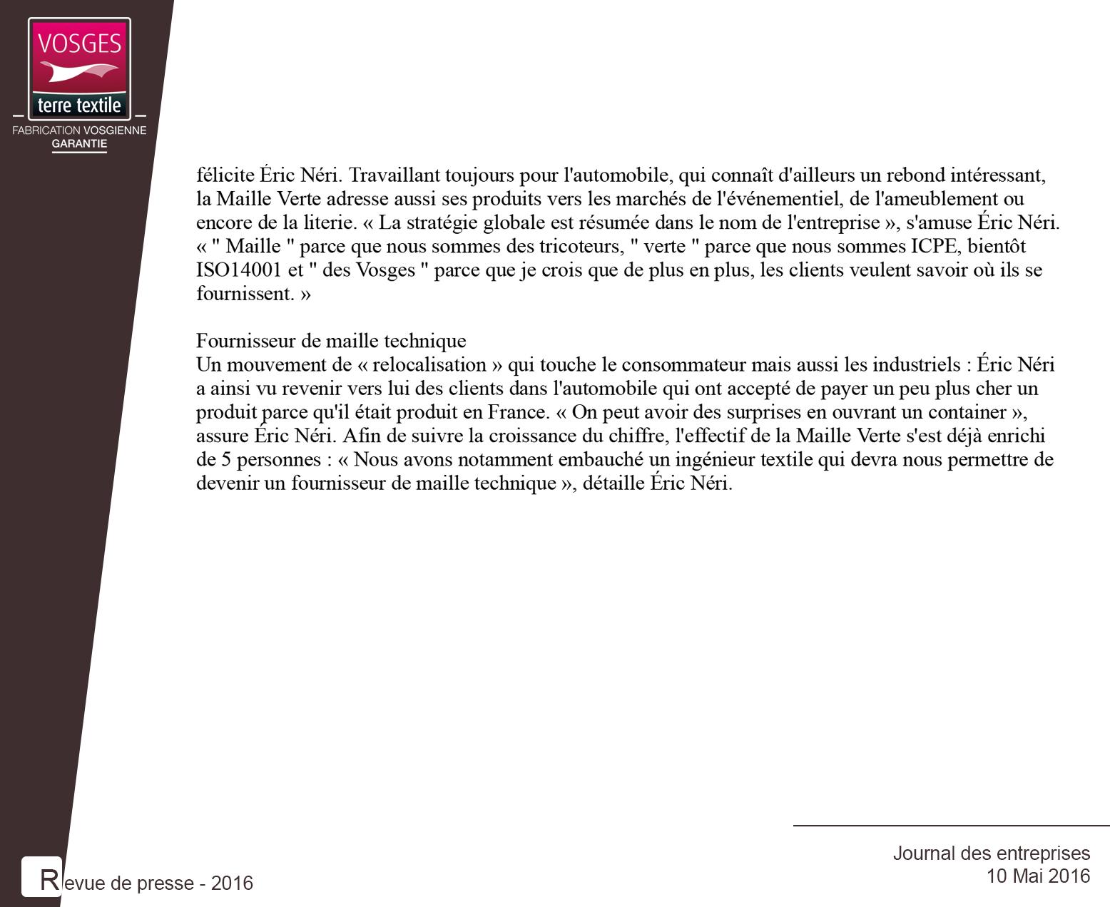 Article du Journal des Entreprises