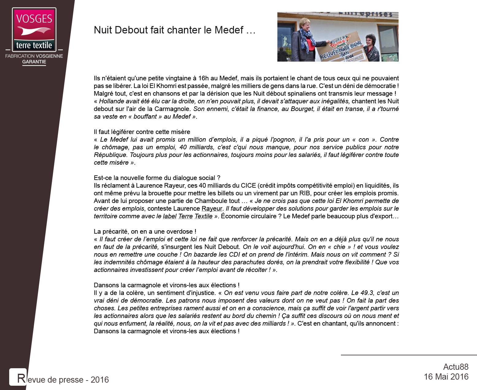 Article paru sur actu88.fr