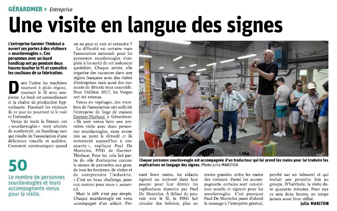 Tourisme industriel avec des aveugles et sourds dans les Vosges chez Garnier-Thiebaut
