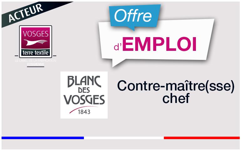 Offre-emploi-Blanc-des-Vosges-Contre-maitre-chef-atelier-confection-à-Gérardmer