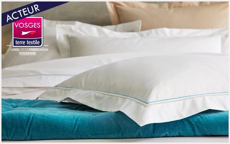 Souvenir celadon Blanc des Vosges nouvelle collection linge de lit labellisée Vosges terre textile entreprise vosgienne savoir faire production locale