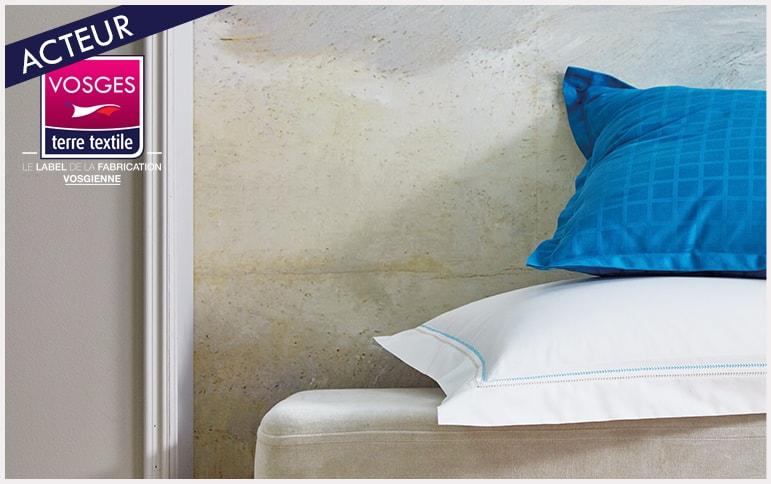 Souvenir celadon detail Blanc des vosges nouvelle collection linge de lit qualité made in france entreprise textile savoir faire production locale