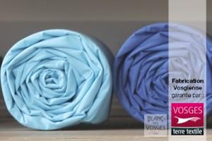 Draps housses fabriqués par Blanc des Vosges labellisés Vosges terre textile