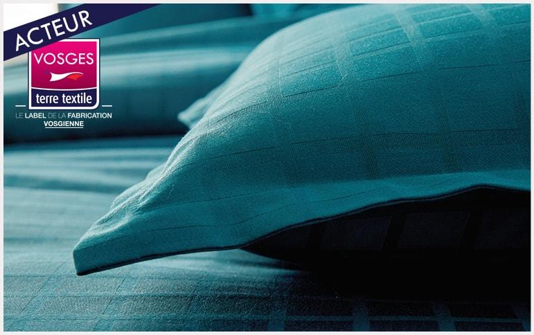 Palace bleu paon Blanc des Vosges nouvelle collection labellisée Vosges terre textile entreprise textile savoir faire production locale made in france