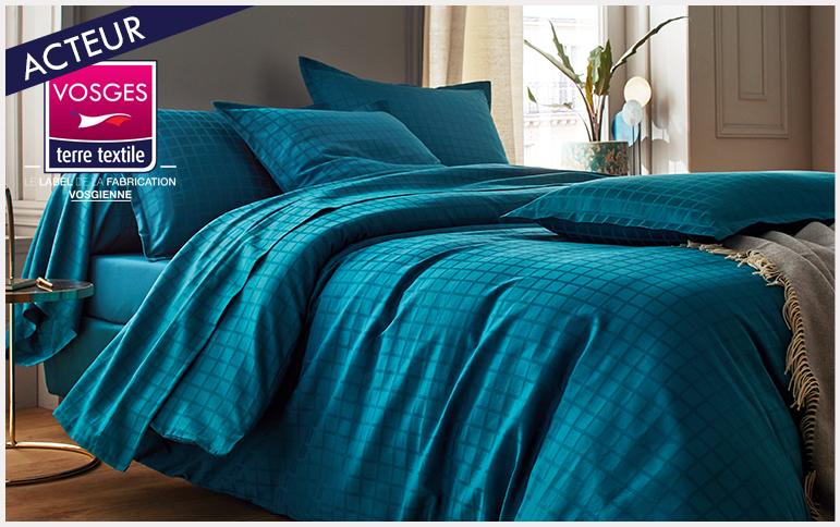 Palace bleu paon nouvelle collection blanc des vosges entreprise textile Vosges savoir faire production locale made in france