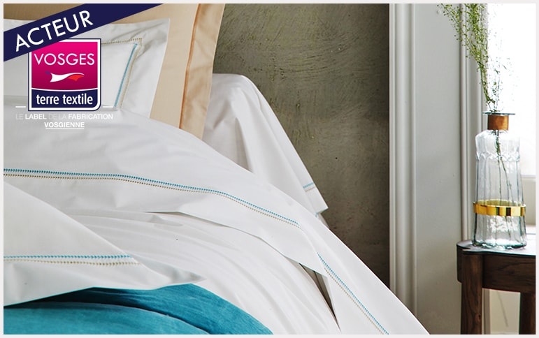 Souvenir celadon Blanc des vosges nouvelle collection linge de lit entreprise textile savoir faire industriel production locale made in france