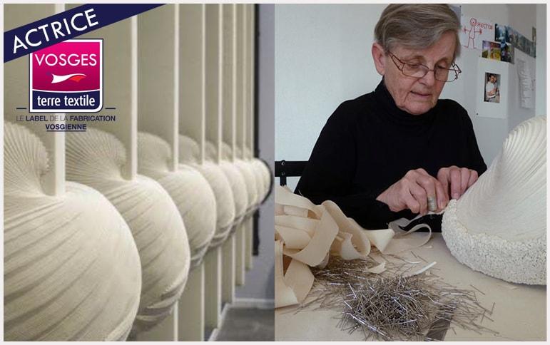 Sculptrice tissus vosgienne Simone Pheulpin transforme les calicots de Tenthorey en oeuvre d'art savoir faire enteprise textile made in vosges